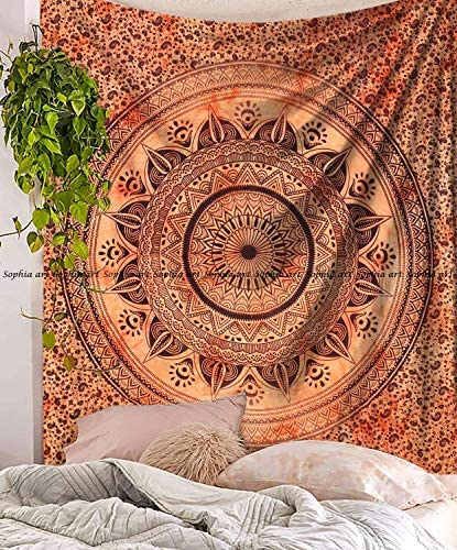 Sophia-Art Indian Mandala Hippie Tapestries Wall Hanging Unique Indian Tapestry Hippy Mandala Beautiful Handmade Bedspread Wall Decor Queen Tapestry Orange Tie dye Trident, 86 x 94