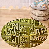 VROSELV Custom carpetDigital Computer Hardware Circuit Board High Tech Futuristic Web Abstract Illustration for Bedroom Living Room Dorm Marigold Black Round 47 inches