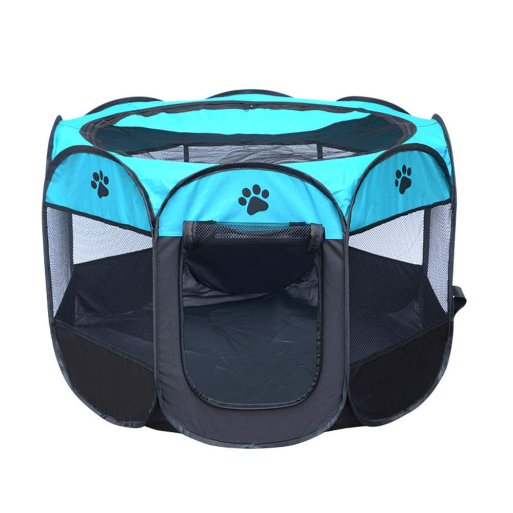 bluee Medium bluee Medium Cmylbaanm Tent Pet Bed, Eight-sided Cage Removable and Washable Folding Octagonal Pet Fence Oxford Cloth Waterproof Scratch-resistant,bluee,M