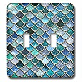 3dRose (lsp_272862_2) Double Toggle Switch (2) Multicolor Trend Blue Luxury Elegant Mermaid Scales Glitter
