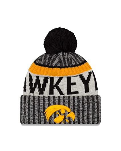 a65e71dc28c Amazon.com   New Era Iowa Hawkeyes Onfield Sport Pom Knit Beanie Hat ...