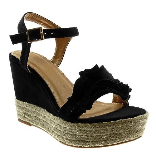 Angkorly - Zapatillas Moda Sandalias Alpargatas Plataforma Mujer con Volante Strass Cuerda Plataforma 11 CM: Amazon.es: Zapatos y complementos