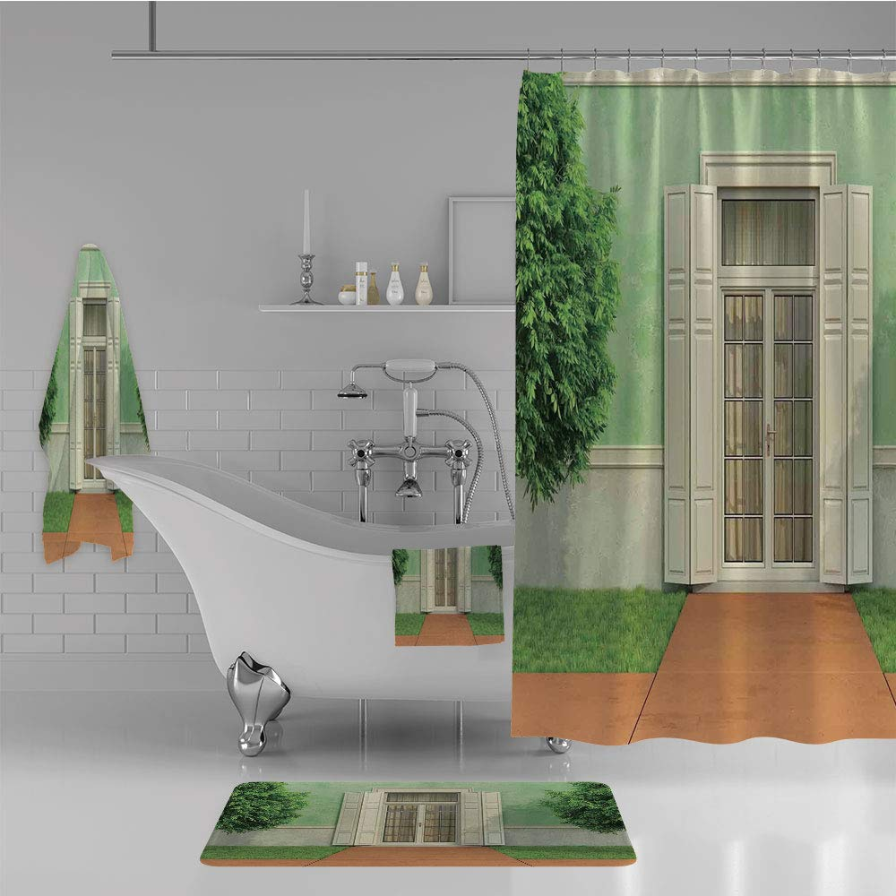 iPrint Bathroom 4 Piece Set Shower Curtain Floor mat Bath Towel 3D Print,Image of Garden of an Old House with Closed Window,Fashion Personality Customization adds Color to Your Bathroom.