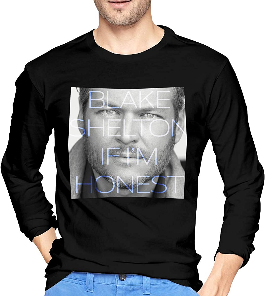 Blake Shelton If I'm Honest Fashion Round Neck T-shirt Casual Shirt Top Black