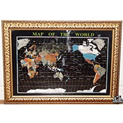 Unique Art 30-Inch Cross with Frame Black Onyx Ocean Gemstone World Map