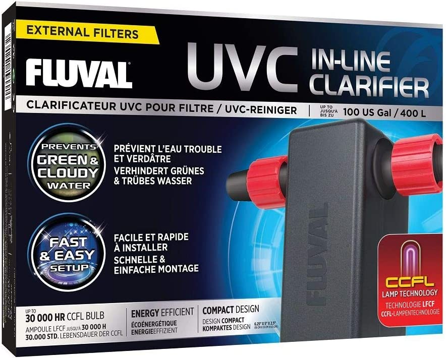Fluval UVC in-Line Clarifier 3W Low Energy UV Sterilizer, Up to 100 Gallons, for All 6 and 7 Series Filters