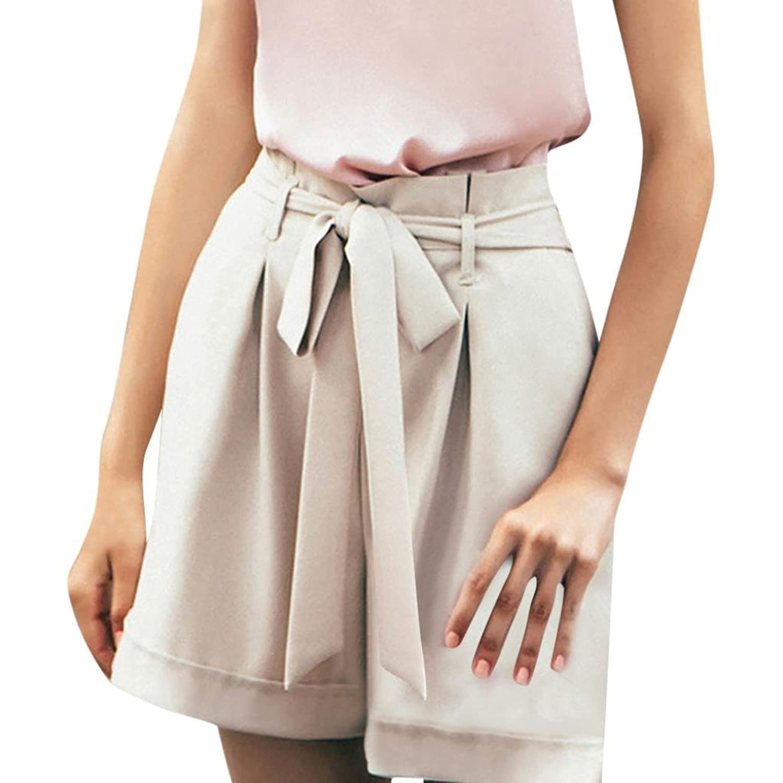 512508d5562a03 gut eingezäunt BakeLIN Damen Casual Shorts Elegant Reine Farbe Hohe Taille  Kurze Hose Lose Strand Hot