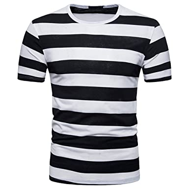 852b81a852e HGWXX7 Men s Summer Fashion Stripe Short Sleeve O-Neck Pullover T-Shirt Top  Blouse
