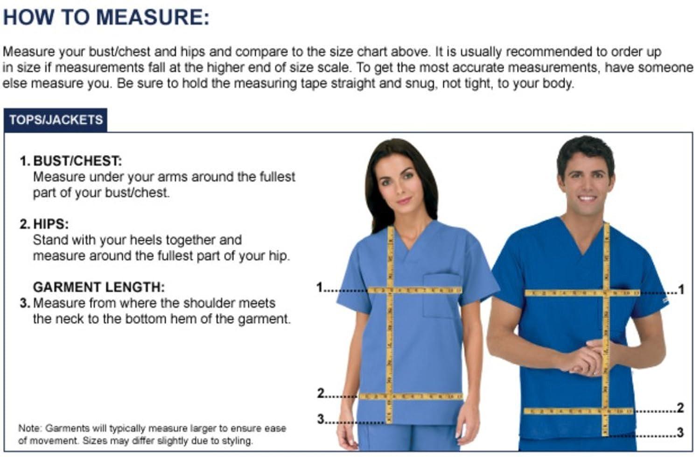 ua scrubs size chart