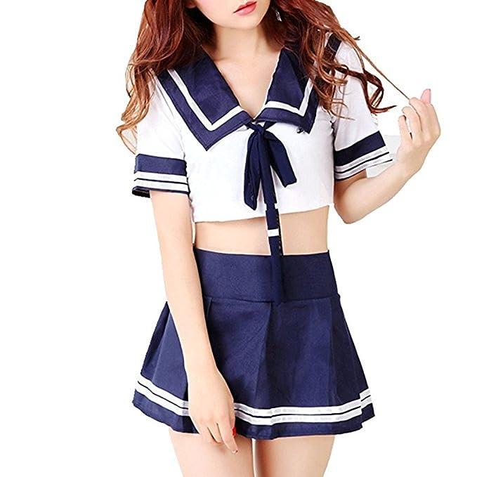 3152109e04 M_Eshop Sexy Schoolgirl Lingerie Set Sailor Uniform Dress Cosplay Japanese School  Girls Costumes (M)