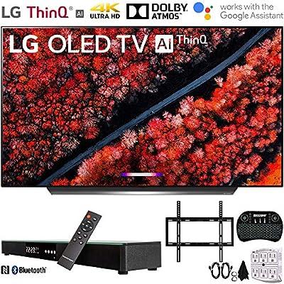 "LG C9 4K HDR Smart OLED TV w/AI ThinQ (2019) w/Soundbar Bundle Includes, Deco Gear Home Theater Surround Sound 31"" Soundbar, Flat Wall Mount Kit for 45-90 inch TVs and"