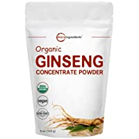 Maximum Strength Organic Ginseng Root 200:1 Powder, 4 Ounce, Panax Ginseng Powder...