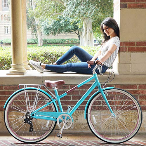sixthreezero Reach Your Destination Women's Hybrid Bike with Rear Rack, 28 Inches, 7-Speed, Teal