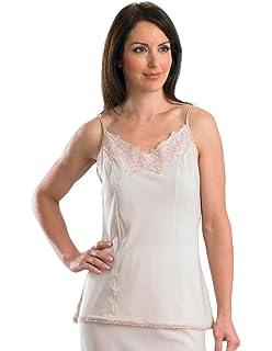 Slenderella Ladies 100/% Cotton Sleeveless Camisole Seamless Lace Trim Cami Top