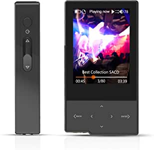 HIDIZS AP60 Ⅱ Bluetooth MP3 Player Digital Audio Player HiFi Lossless Music Player Hi-Res Audio Player with SD Card Slot,Support Up to 256GB (Black)