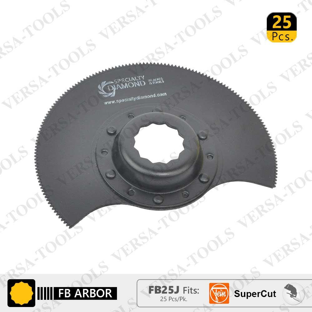 Versa Tool FB25J 80mm Semi Round Bi-Metal Blade, 8mm Offset Mount for a Perfect Flush Cut Fits Fein Supercut Oscillating Tool (25 Pack)