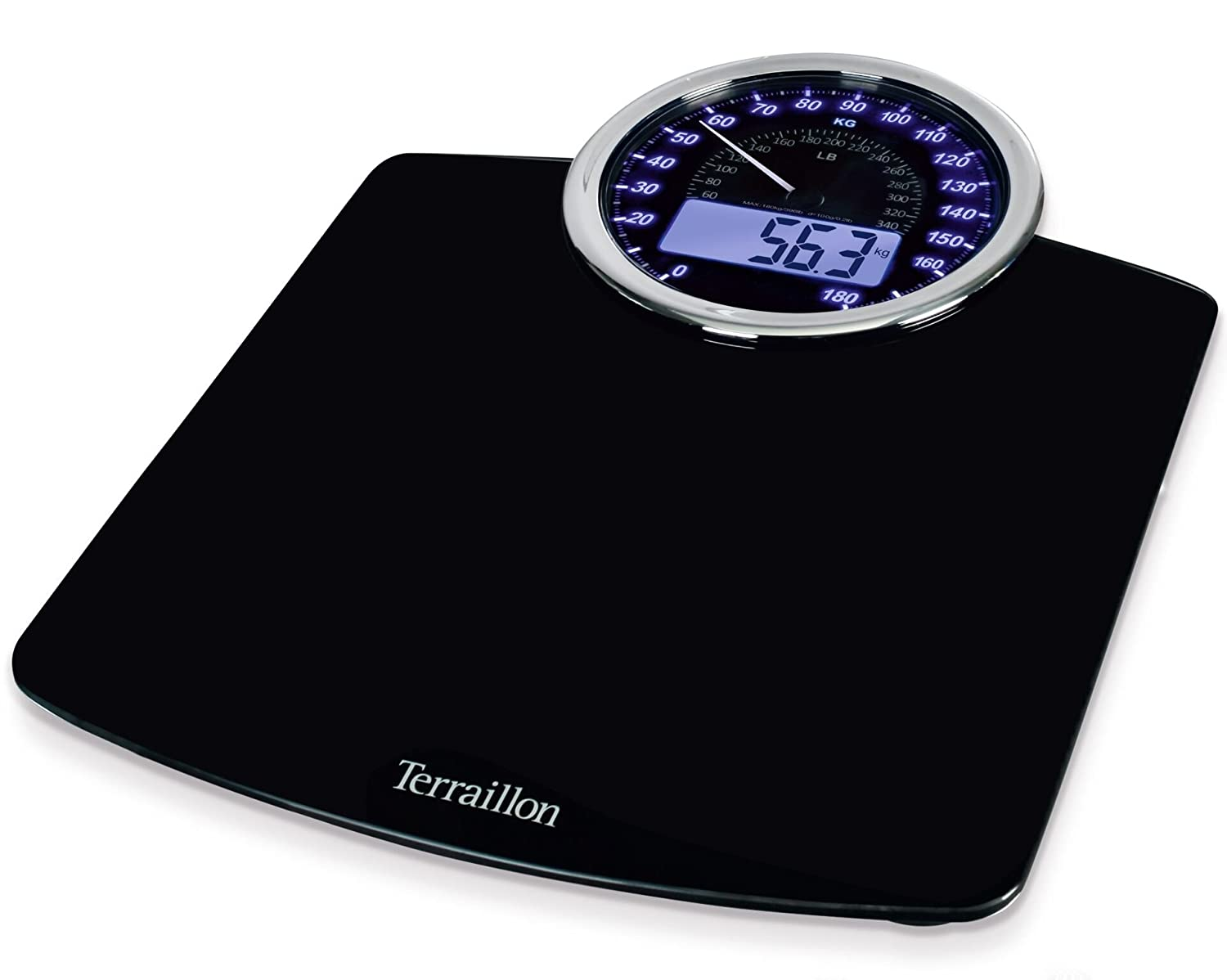 Terraillon Electronic Bathroom Scales, Mechanical and Digital Display, Black 13737