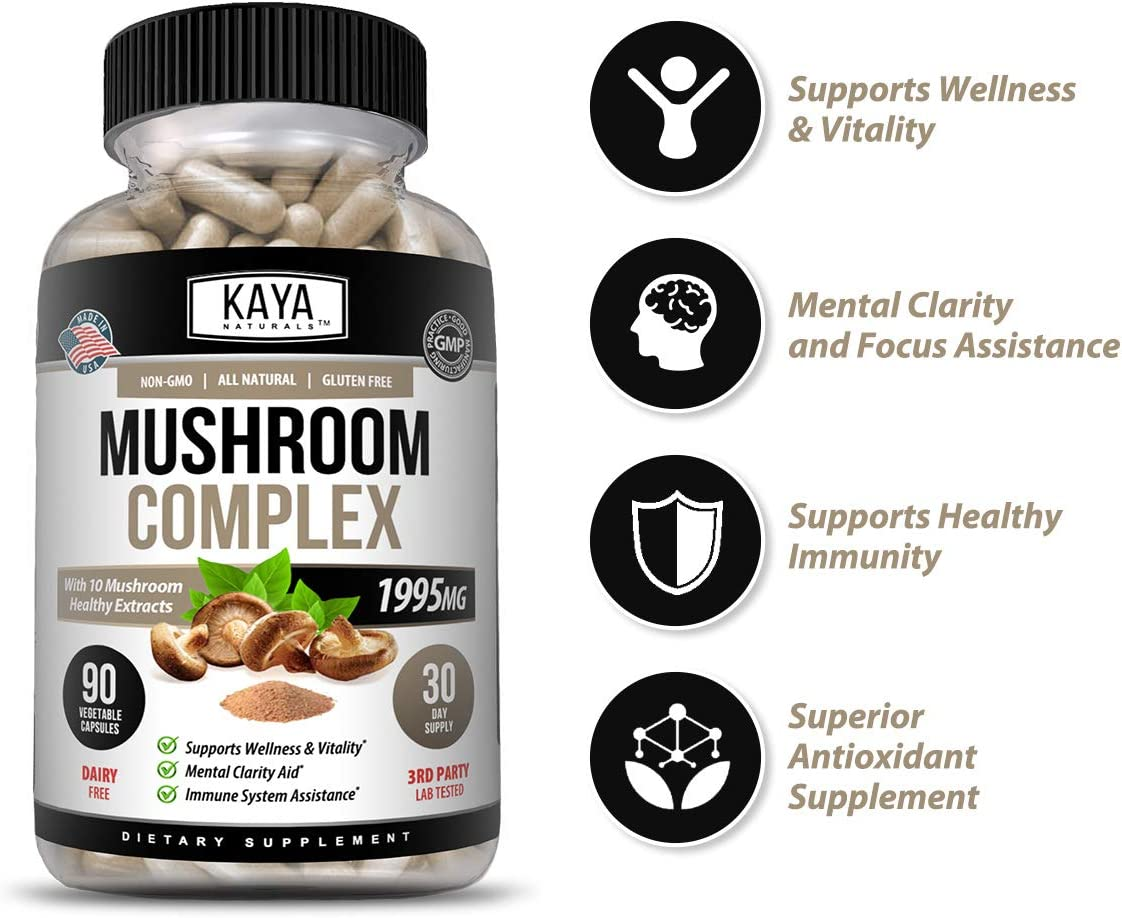 Kaya Naturals Premium Mushroom Complex Potent 1995mg Per Serving 90 Veggie Capsules Aids Mental Clarity Supports Immune System, Wellness Vitality 90