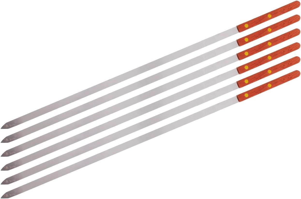 CHEFTOR Premium Stainless Steel Wooden Handle BBQ Skewers for Shish Kebab, Turkish Grills & Koubideh, Brazilian-Style BBQ, 23 Inch x 1/2 Inch, Set of 6