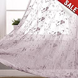 Floral Embroidery Voile Curtain Panels for Living Room 84 inch Length Crinkled Sheer Curtains for Bedroom Rod Pocket Light Filtering Drapes (2 Panels, Lilac)