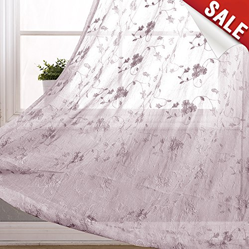 Floral Embroidery Voile Curtain Panels for Living Room Crinkled Sheers Rod Pocket Window Curtains for Bedroom 95 inch Length Light Filtering Drapes (2 Panels, Lilac)