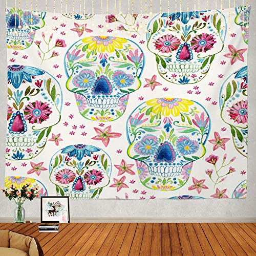 Shrahala Sugar Skull Floral Tapestry, Sugar Skull Pattern Floral Watercolor Halloween Wall Hanging Large Tapestry Psychedelic Tapestry Decorations Bedroom Living Room Dorm -