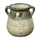 Whole House Worlds Grand Tour Belly Vase, Amphora, Artisan Crafted, Glazed Terracotta Shabby Tan Glaze, Green Patina, Distressed Metallic Top, Vintage Style, 8 3/4 Inches Tall WHW