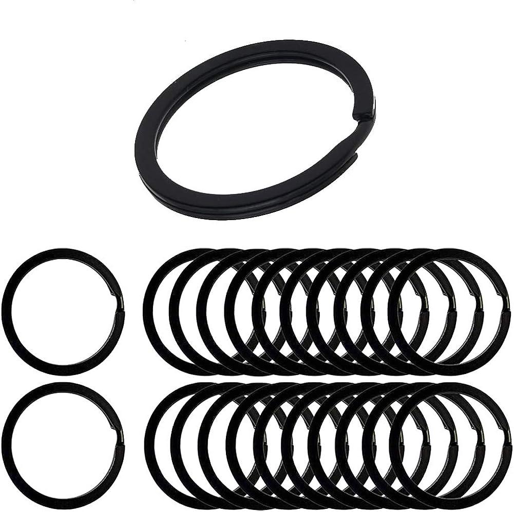 ESTART Round Metal Flat Split Key Chains Rings 20 Pcs for Home Car Keys Attachment and lanyard charms, Black (1.25 Inch/ 32 mm, Black)