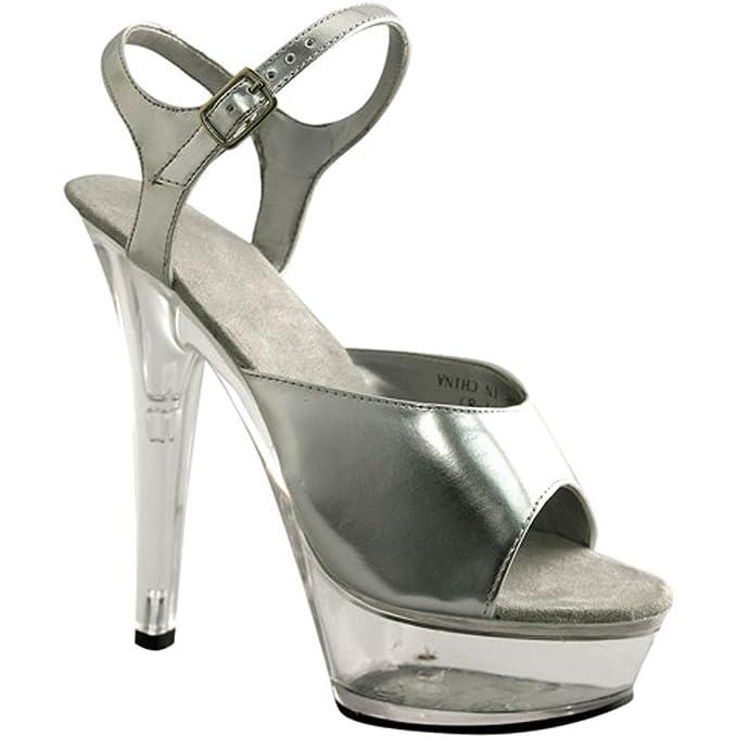 ae7d087c64ec5 Amazon.com: Silver Platform Costume Shoes (Size:Small 5-6): Clothing