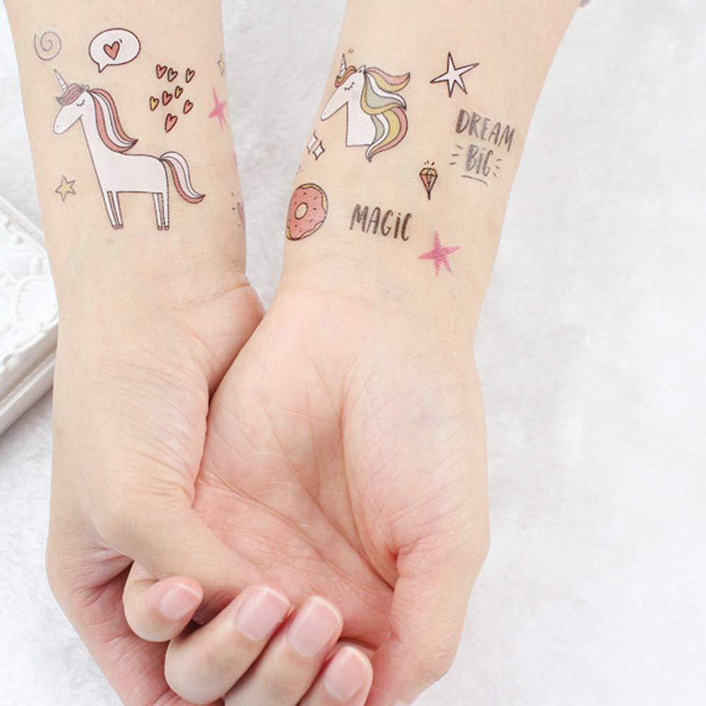 Newin Star Juego 25 Hojas Unicornio Tatuajes temporales a Prueba ...