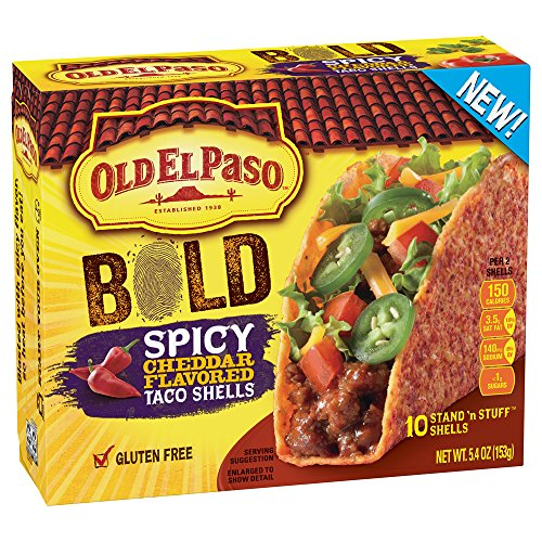 Old El Paso Gluten Free Stand 'n Stuff Bold Spicy Cheddar Flavored Taco Shells 5.4 oz. Box (pack of 6)
