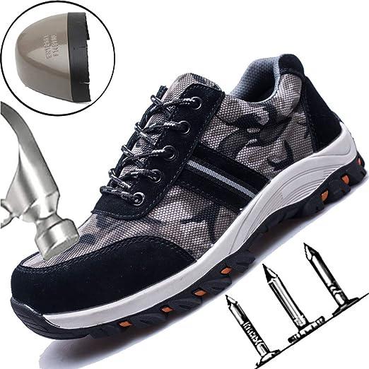 SHYTX Zapatos De Seguridad Hombres,Zapato Seguridad Zapatos