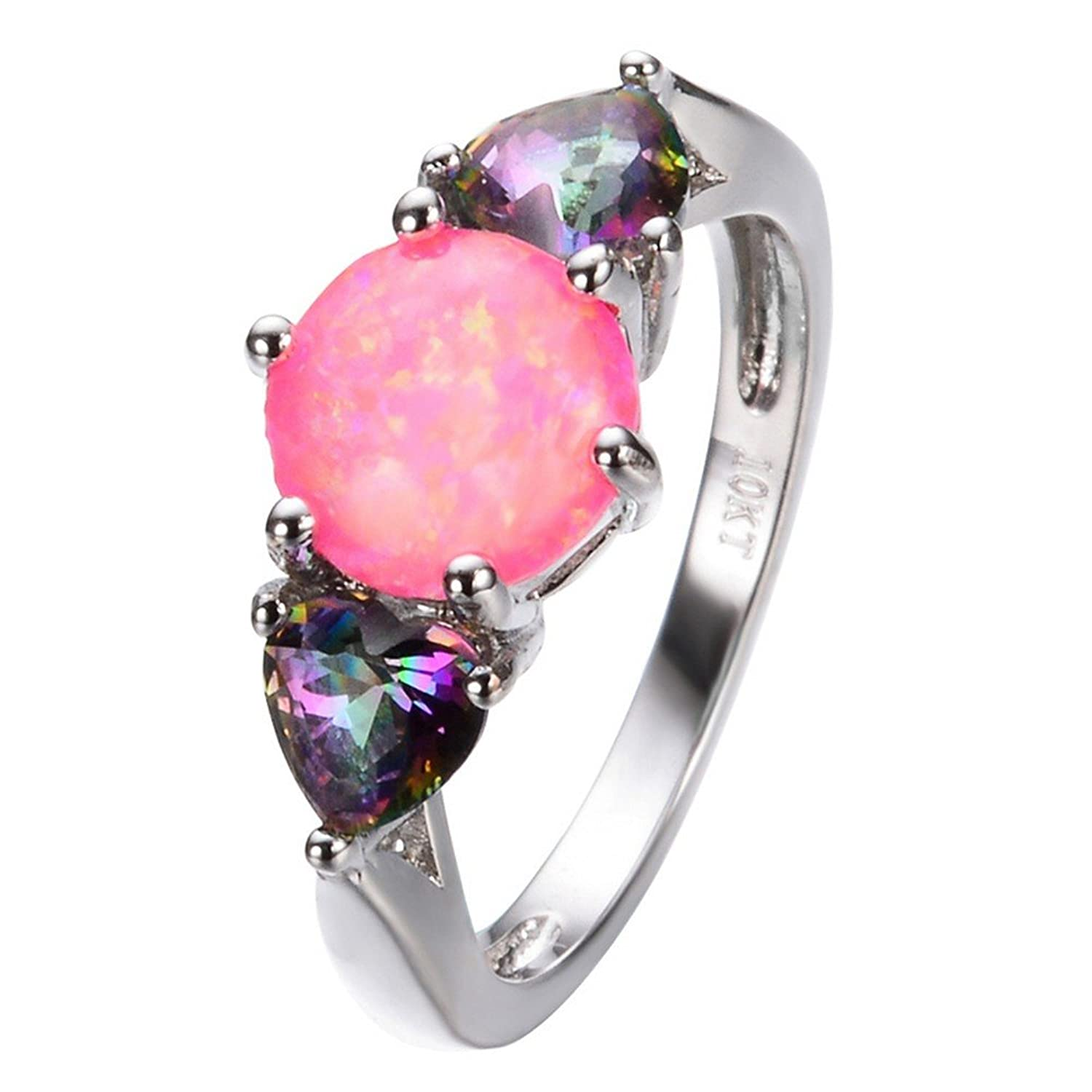 Amazon.com: PSRINGS Small Rainbow Heart Pink Round Fire Opal Ring ...