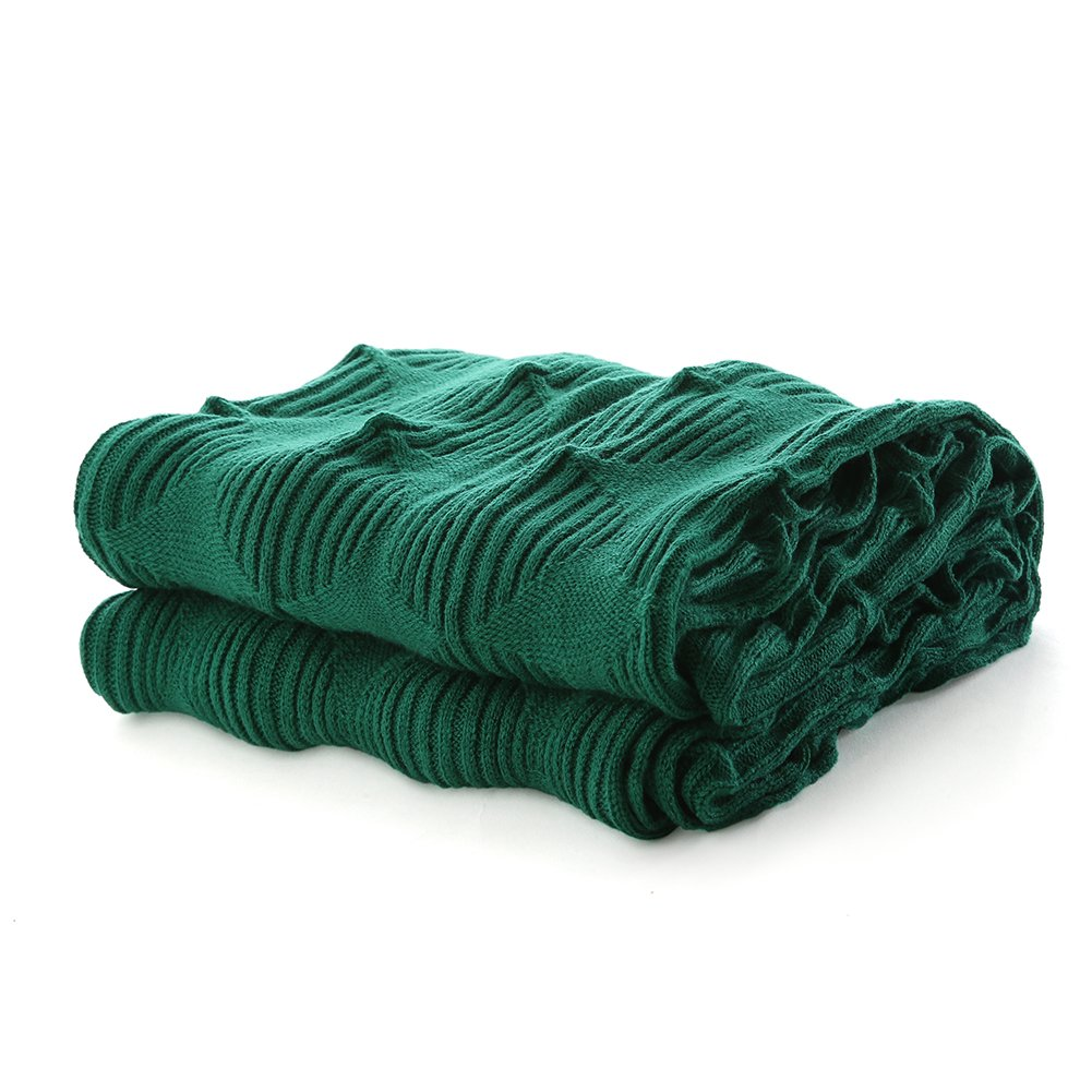 VVFamily Knitted Blanket Throw Lightweight Home Everyday Decorative Blankets Super Soft Premium Pattern Knitting Throws Bedspread, Peacock Green 40 x 80 Inch