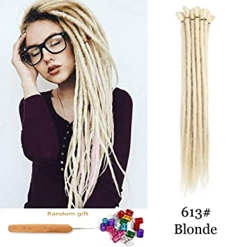 Dsoar Blonde Synthetic Dreads 20 Inch Handmade Dreadlock Extensions 12  Strands/Pack Twist Braiding Hair Hippie Crochet Braids (613#,Blonde Color)