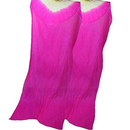 2b1053e63 Amazon.com: WEISIPU 1 Pair 1.8m Raks Sharki Belly Dancing Silk Fans Chinese  Hand Made Bamboo Veils Long Fans(Rose Red): Home & Kitchen