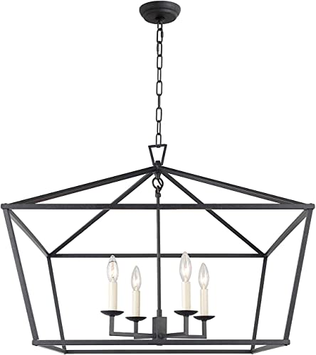 W28 X H23 Cage Large Lantern Iron Art Design 4 Lights Candle-Style Chandelier Pendant, Ceiling Light Fixture Matte Black