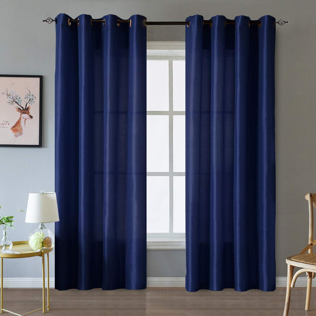 38x 63 inches Black 2 Panel Valea Home Blackout Curtains Grommet Faux Silk Satin Room Darkening Curtain Drapes for Bedroom