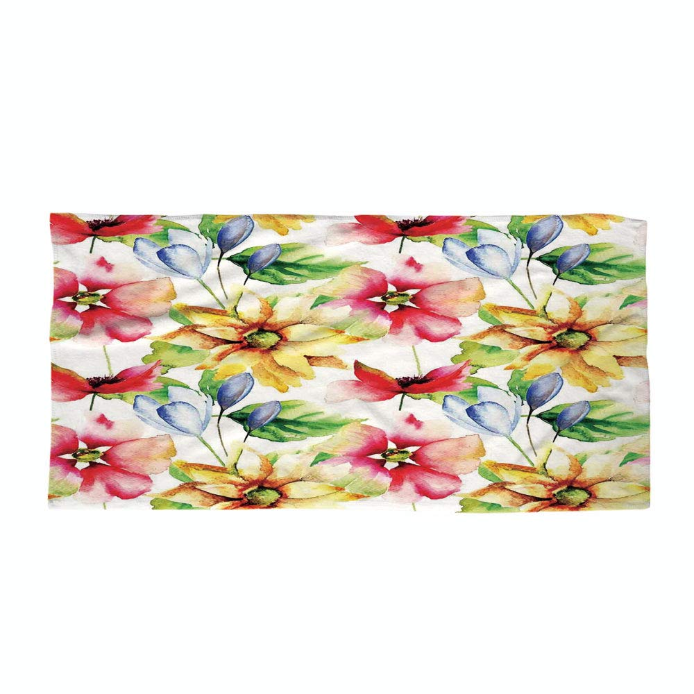 iPrint Cotton Microfiber Beach Towel,Watercolor Flower,Spring Flower Pattern Watercolor Effect Image Country Style Floral Design Art Decorative,Multi,for Kids, Teens, and Adults