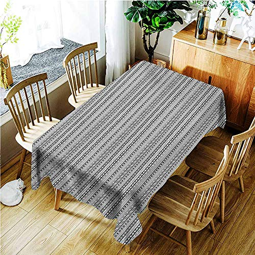 (AndyTours Fashions Rectangular Table Cloth,Ethnic Geometric Arrangement Oriental Triangles Rhombuses Bullseye Circles,High-end Durable Creative Home,W60X102L,Pale Grey Black and White)
