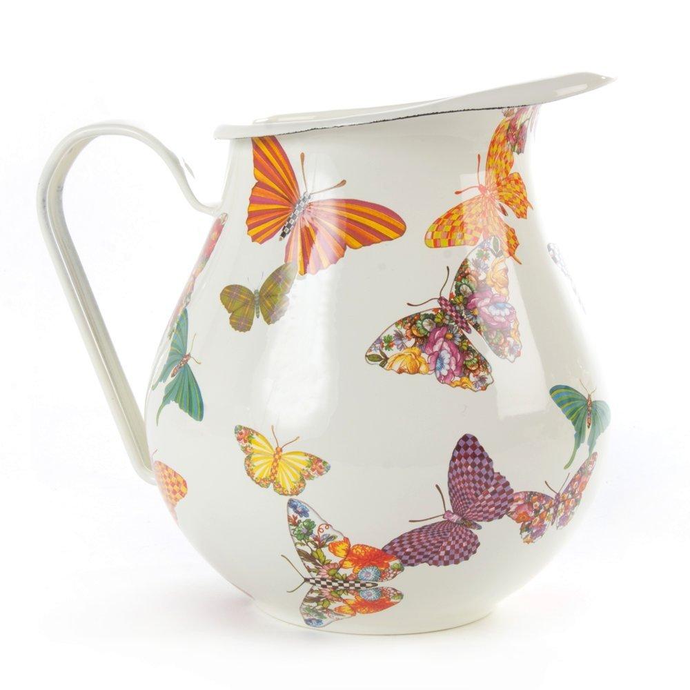 MacKenzie-Childs Butterfly Garden Enamel Pitcher White