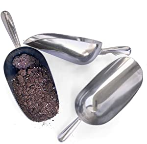 Raw Rutes - Aluminum Garden Scoop Set - Hardware Store Style - Perfect for Potting Soil, Bird Seed and Fertilizer - Vintage Styled, Rust-Free, Light Weight Design!