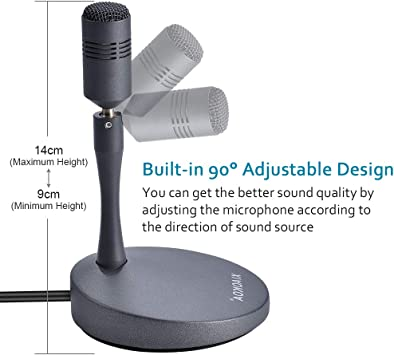 Ruiqas USB-Mikrofon Kondensator Omnidirektionales Mikrofon f/ür Computer PC Desktop-Laptop f/ür Gaming Netmeeting Podcasting