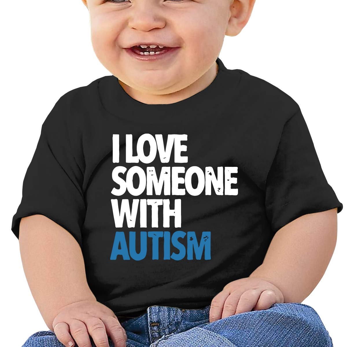 I Love Someone with Autism Newborn Baby Short Sleeve Crewneck T Shirts 6-18 Month Tops