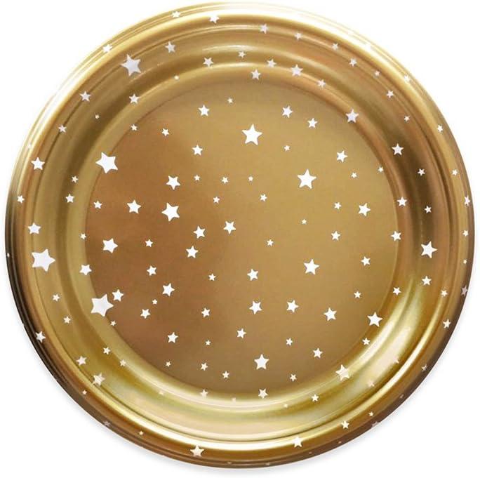 Maxi Products Platos de plástico Dorados Decorados con diseño de Estrellas - Colección Navidad - 18 cm - 6 Unidades