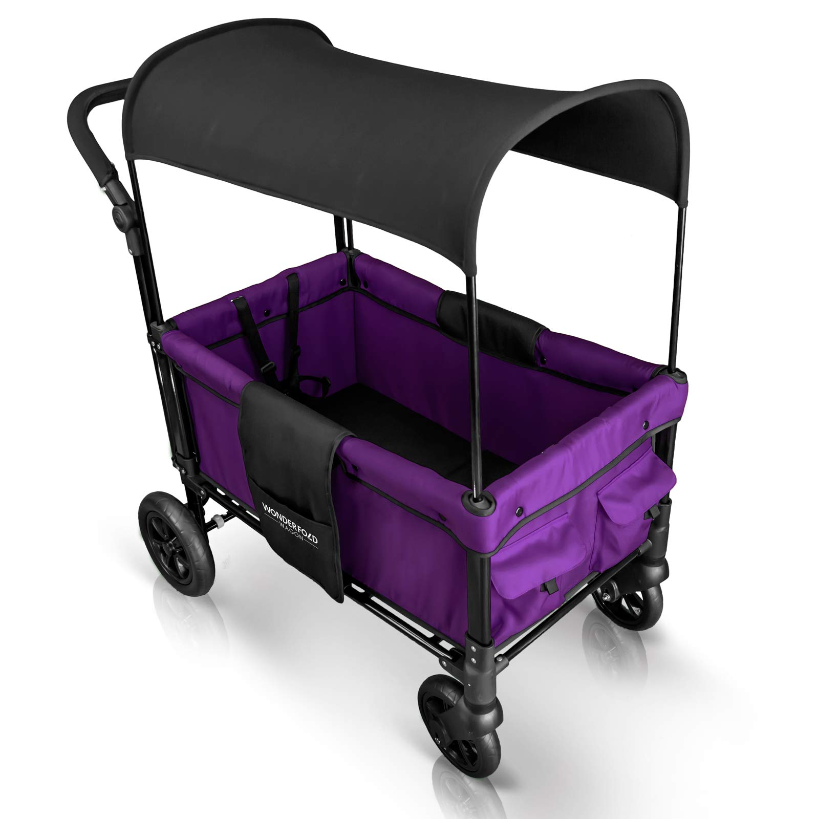 WonderFold Multi-Function 2 Passenger Push Folding Stroller Wagon, Adjustable & Removable Canopy, Double Seats with 5-Point Harness (Cobalt Violet) by WonderFold (Image #4)