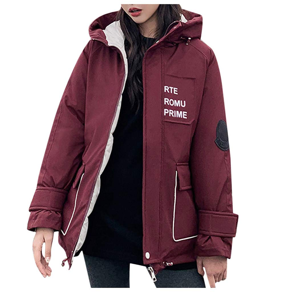 Allywit- Women Outerwear Faux Fur Hooded Button Cotton Coat Long Solid Jackets Pocket Coats Plus Size Red by Allywit- Women