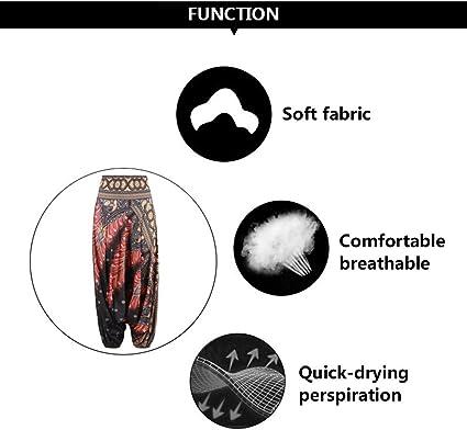 Zhhlinyuan Femmes Doux Harem Pantalons Imprim/é Pantalon de Yoga Style Ethnique indon/ésien Pantalon Jambe Large Convient pour Fonctionnement Ventre Danse Aptitude des Sports