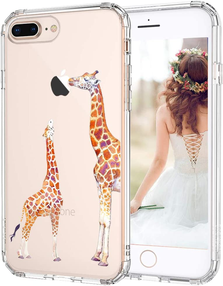 MOSNOVO iPhone 7 Plus Case, iPhone 8 Plus Case, Cute Giraffe Pattern Clear Design Printed Transparent Case with TPU Bumper Protective Case Cover for Apple iPhone 7 Plus (2016) / iPhone 8 Plus (2017)