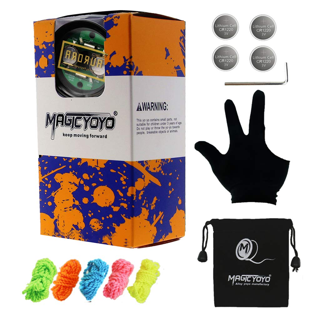 MAGICYOYO Y02-Aurora Light Up Professional Unresponsive Yoyo with Led Lights with Glove, Yoyo Holster, 5 Strings, Blue LED Light